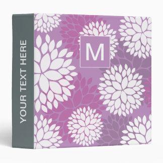 Purple White Plum Floral Monogram Binder