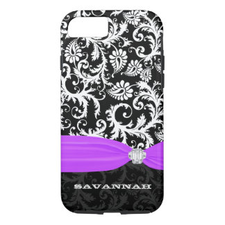 Purple White Plus Any Color Damask Printed Crystal iPhone 7 Case