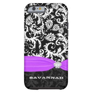Purple White Plus Any Color Damask Printed Crystal Tough iPhone 6 Case