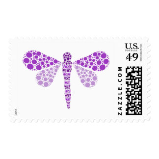 Purple & White Pointillism Dragonfly Elegant Postage
