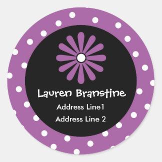 Purple & White Polka Dot Address Labels Classic Round Sticker