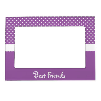 Purple & White Polka Dot Best Friends Magnetic Frame