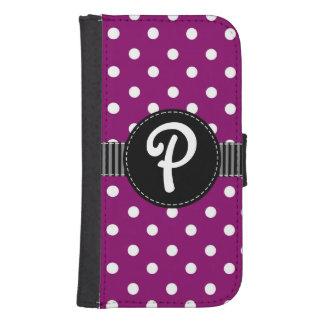 Purple & White Polka Dot, Black Ribbon Wallet Case Galaxy S4 Wallet