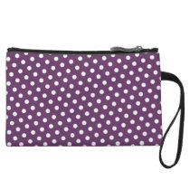 Purple & White Polka Dot Clutch Bag