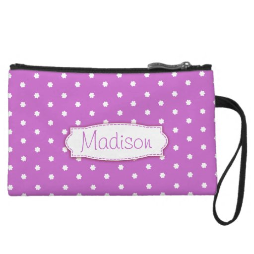 Purple & white polka dot flowers named mini clutch wristlet clutch