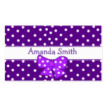 Purple & White Polka Dot Girl's Play Date Card Business Card Template