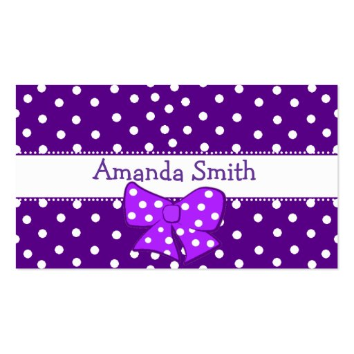 Purple & White Polka Dot Girl's Play Date Card Business Card Template