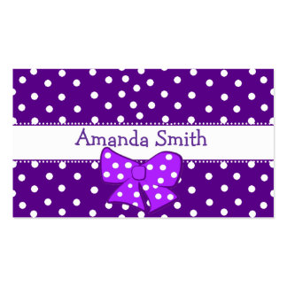 Purple & White Polka Dot Girl's Play Date Card Double-Sided Standard Business Cards (Pack Of 100)