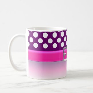 Purple / White Polka Dots and Pink Belt Coffee Mug Basic White Mug