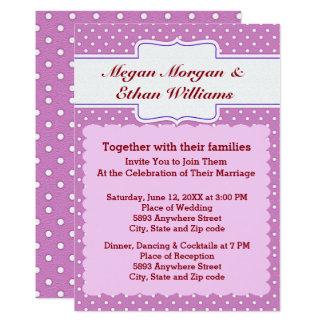 Purple & White Polka Dots Wedding Invitation
