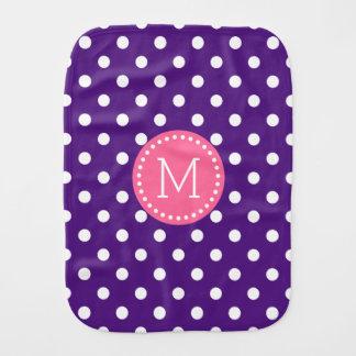 Purple & White Polkadot Pink Accents Burp Cloth