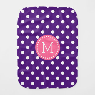 Purple & White Polkadot Pink Accents Baby Burp Cloths