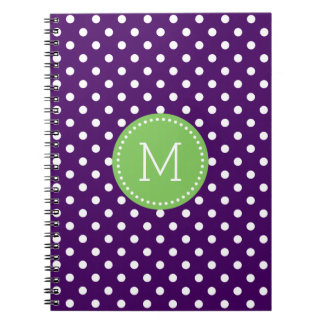 Purple & White Polkadots Pattern With Pink Accent Notebook