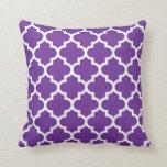 Purple & White Quatrefoil Pattern Pillow