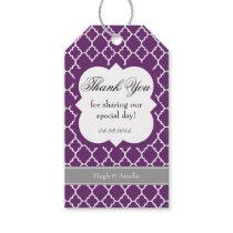 Purple White Quatrefoil Wedding Thank You Tag