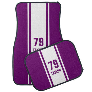 Purple & White Racer Monogram Stripe Car Mats
