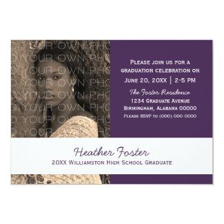 Purple/White School Color Blocks Grad Invite