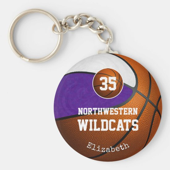 purple white school team colors girls' basketball keychain