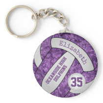 purple white school team colors girls volleyball keychain