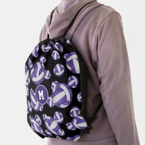 purple white school team colors girly volleyballs drawstring bag