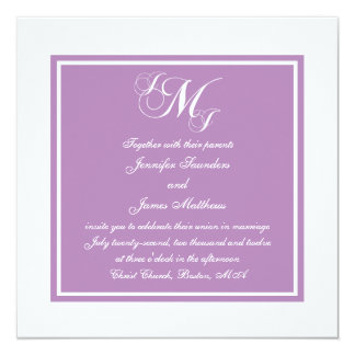 Purple White Script Monogrammed Wedding Invitation