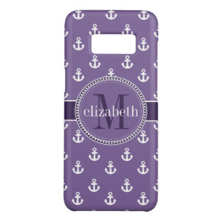 Purple White Ship Anchors Monogram Case-Mate Samsung Galaxy S8 Case