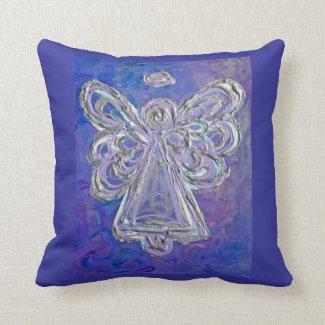Purple White Silver Angel Decorative Throw Pillow