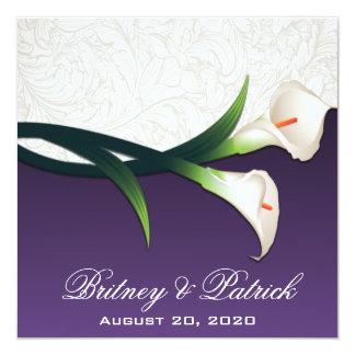 Purple White Silver Calla Lily Wedding Invitations
