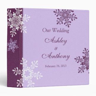 Purple White Snowflake Winter Wedding Binder