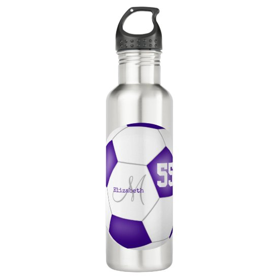 purple white soccer ball girl name jersey number stainless steel water bottle