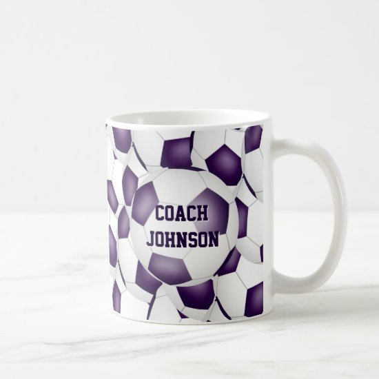purple white soccer school team colors coach gift coffee mug