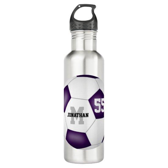 purple white soccer team colors boys girls stainless steel water bottle
