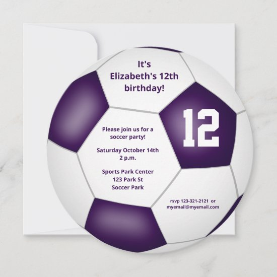 purple white soccer themed birthday party announcement