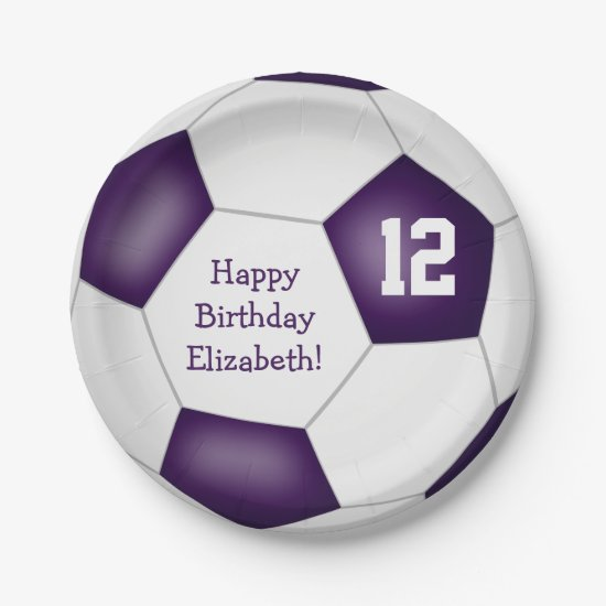 purple white soccer themed birthday party paper plate