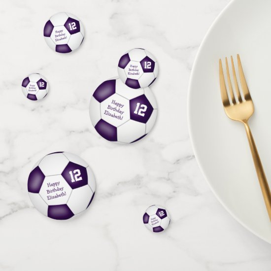 purple white sports birthday party soccer ball confetti