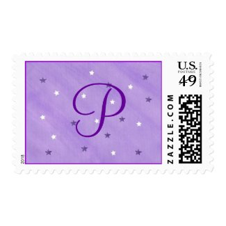 Purple White Stars Monogram Template Stamps