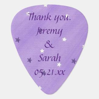 Purple White Stars Personalized Guitar Picks Favor Pick