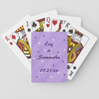 Purple White Stars Personalized Wedding Favors Playing Cards