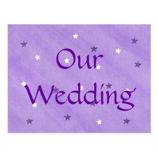 Purple & white stars, wedding invitation postcards