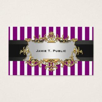 Purple White Stripe, Black Ribbon, Gold Label Business Card
