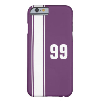 Purple & White Stripe Jersey Numbered iPhone Case