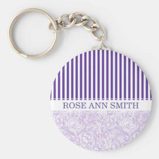Purple-White Stripe•Swirly Wave Pattern•Custom Basic Round Button Keychain