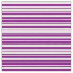 [ Thumbnail: Purple & White Striped Pattern Fabric ]