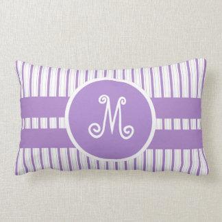Purple & White Stripes with Large Monogram Center Lumbar Pillow