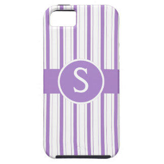Purple White Stripes with Monogram Initial iPhone SE/5/5s Case