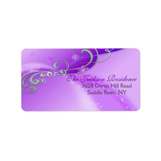 Purple & White Swirl Christmas Address Label label
