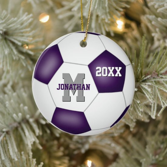 purple white team colors boys girls soccer ceramic ornament