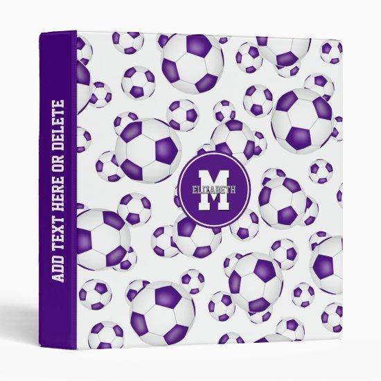 purple white team colors girls boys soccer pattern 3 ring binder