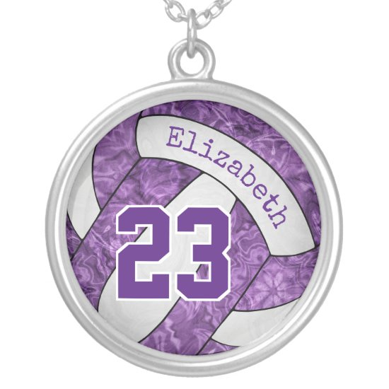 purple white team colors girls' volleyball memento silver plated necklace
