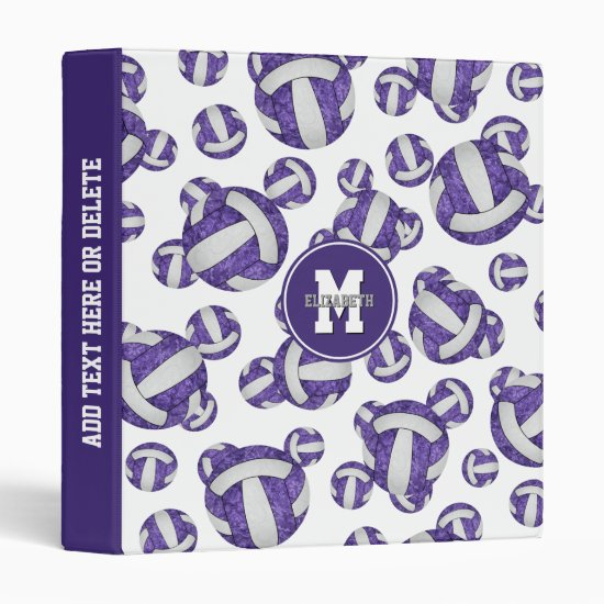 purple white team colors girly volleyball pattern 3 ring binder